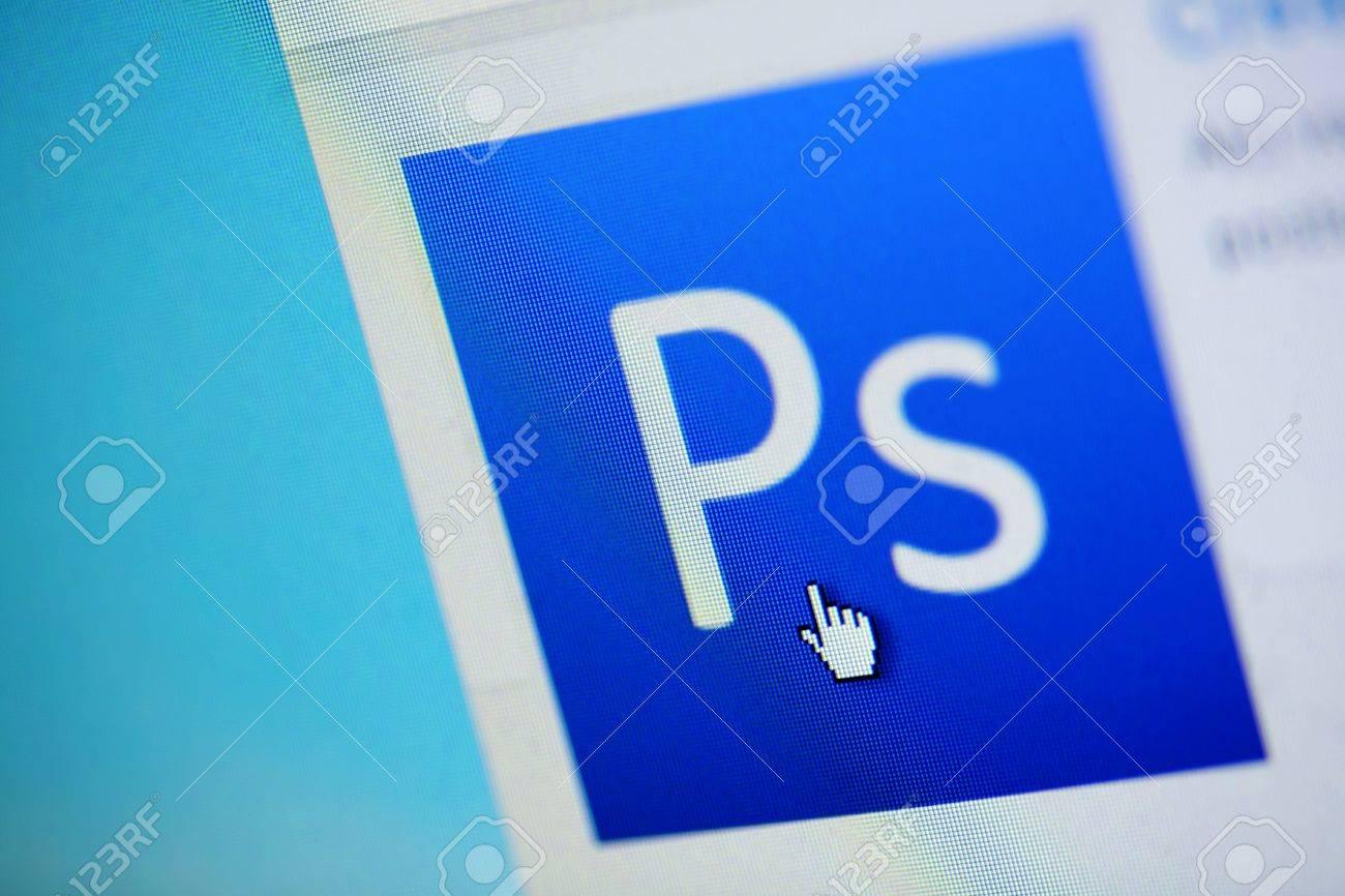 Bucharest, Romania - March 27, 2011: Close-up monitor shot of the Adobe Photoshop logo. - 10006031