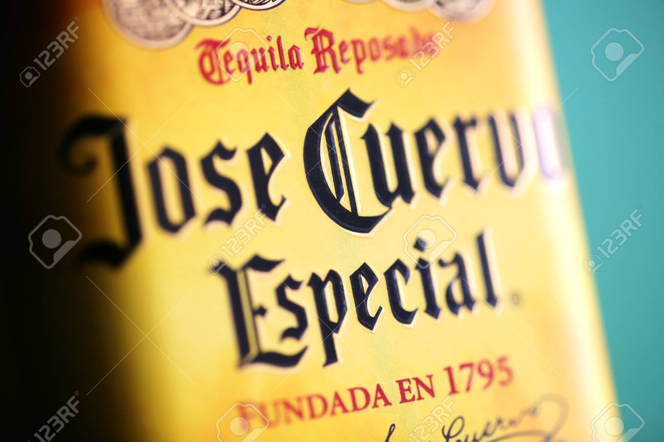 Bucharest, Romania - July 15, 2011: Close-up shot of a bottle of Jose Cuervo tequila. Jos� Cuervo is a brand of tequila produced by Tequila Cuervo La Roje�a and it has the highest sales of any tequila brand in the world. Stock Photo - 10104972