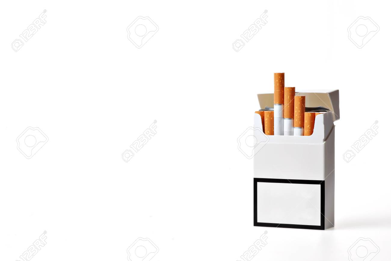 Studio shot of an opened pack of cigarettes Stock Photo - 12540734