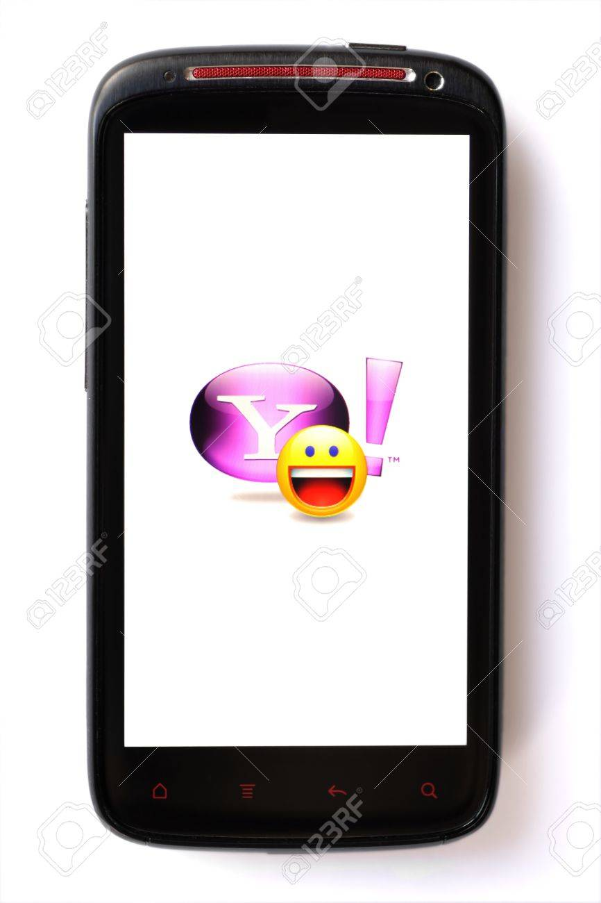 Bucharest, Romania - March 28, 2012: Yahoo! Messenger logo is displayed on a mobile phone screen. Yahoo! Messenger is an advertisement-supported instant messaging client. Stock Photo - 13154938