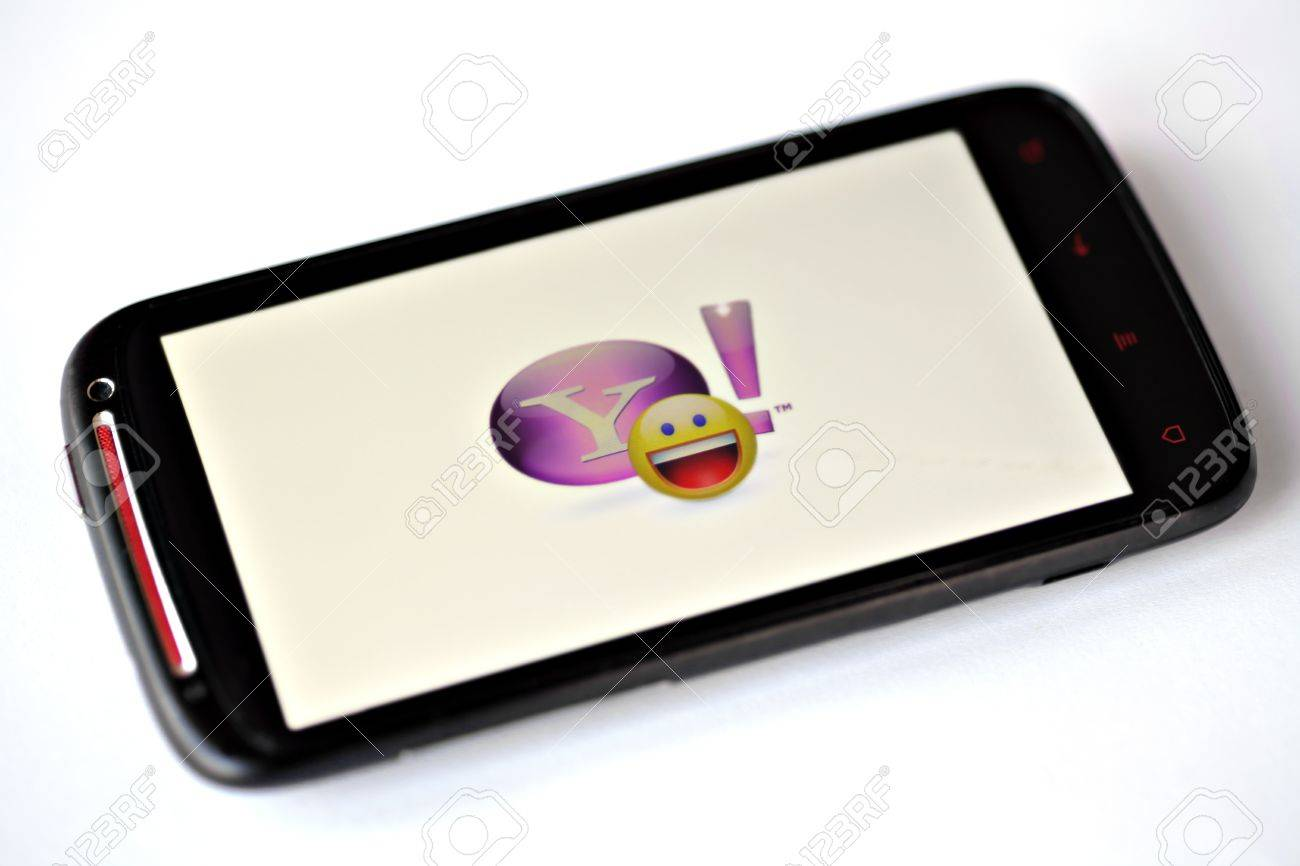 Bucharest, Romania - March 28, 2012: Yahoo! Messenger logo is displayed on a mobile phone screen. Yahoo! Messenger is an advertisement-supported instant messaging client. Stock Photo - 13154951