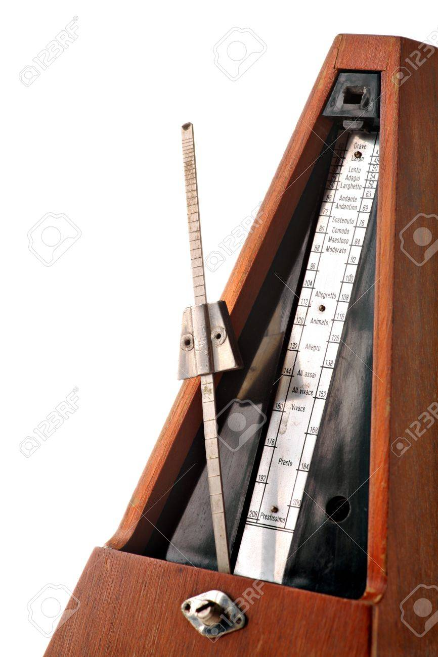 Vertical shot of a vintage metronome isolated on white Stock Photo - 14823601