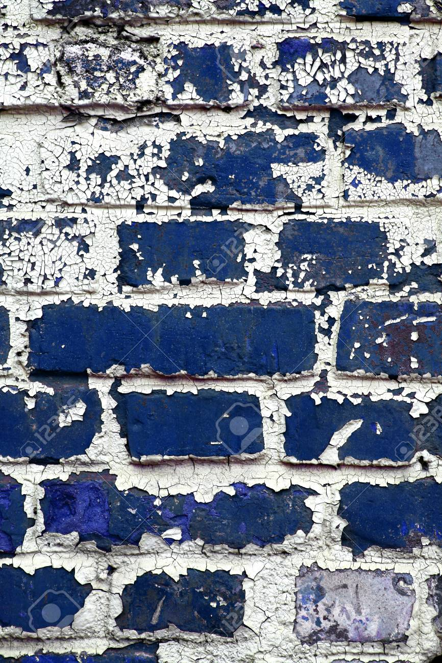 Coup De Couleur D Un Vieux Mur De Briques Bleu Avec La Peinture écaillée