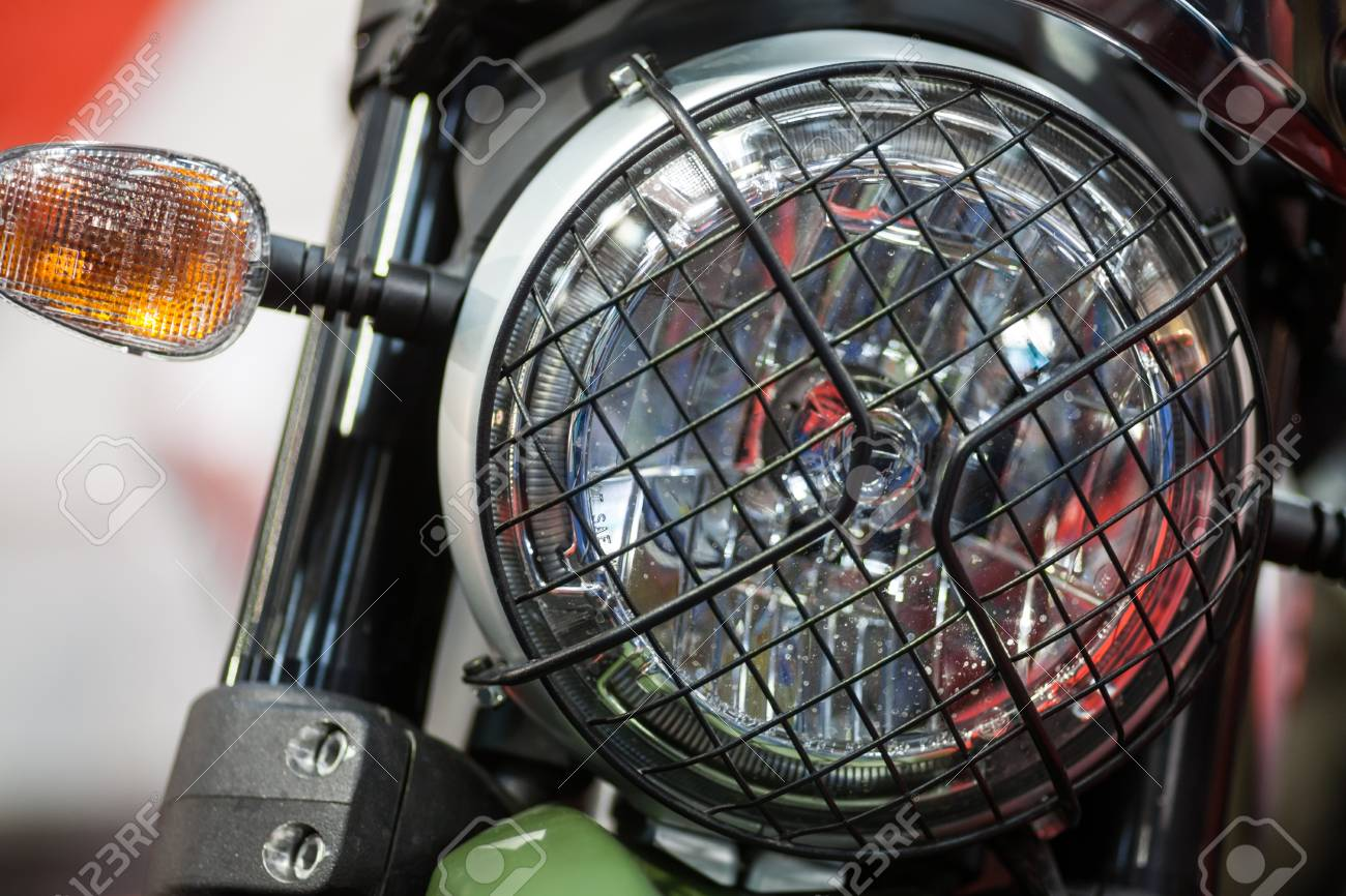 Color Image Of A Classic Motorcycle Headlight Stock Photo Picture