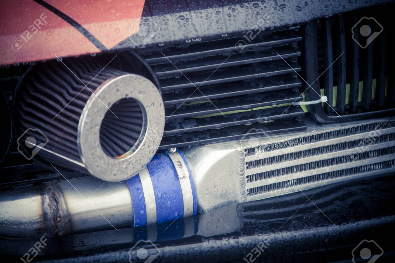 Color image of a tuned car air filter and exhaust pipe. Stock Photo - 69817391 & Color Image Of A Tuned Car Air Filter And Exhaust Pipe. Stock Photo ...