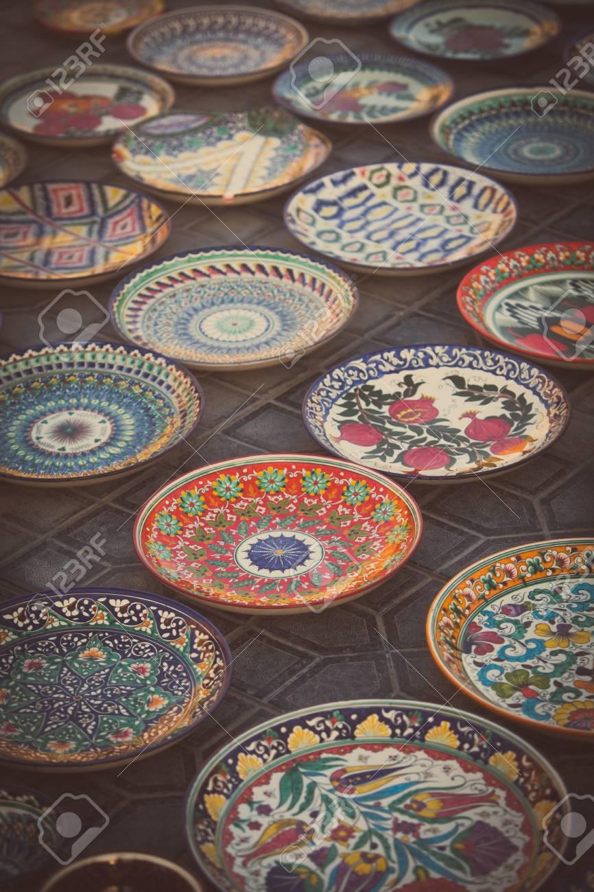 Plates For Sale >> Color Image Of Some Handmade Uzbekistan Plates For Sale