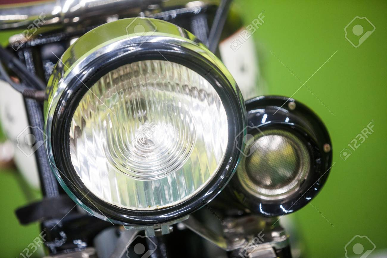 Color Image Of A Vintage Motorcycle Headlight Stock Photo Picture