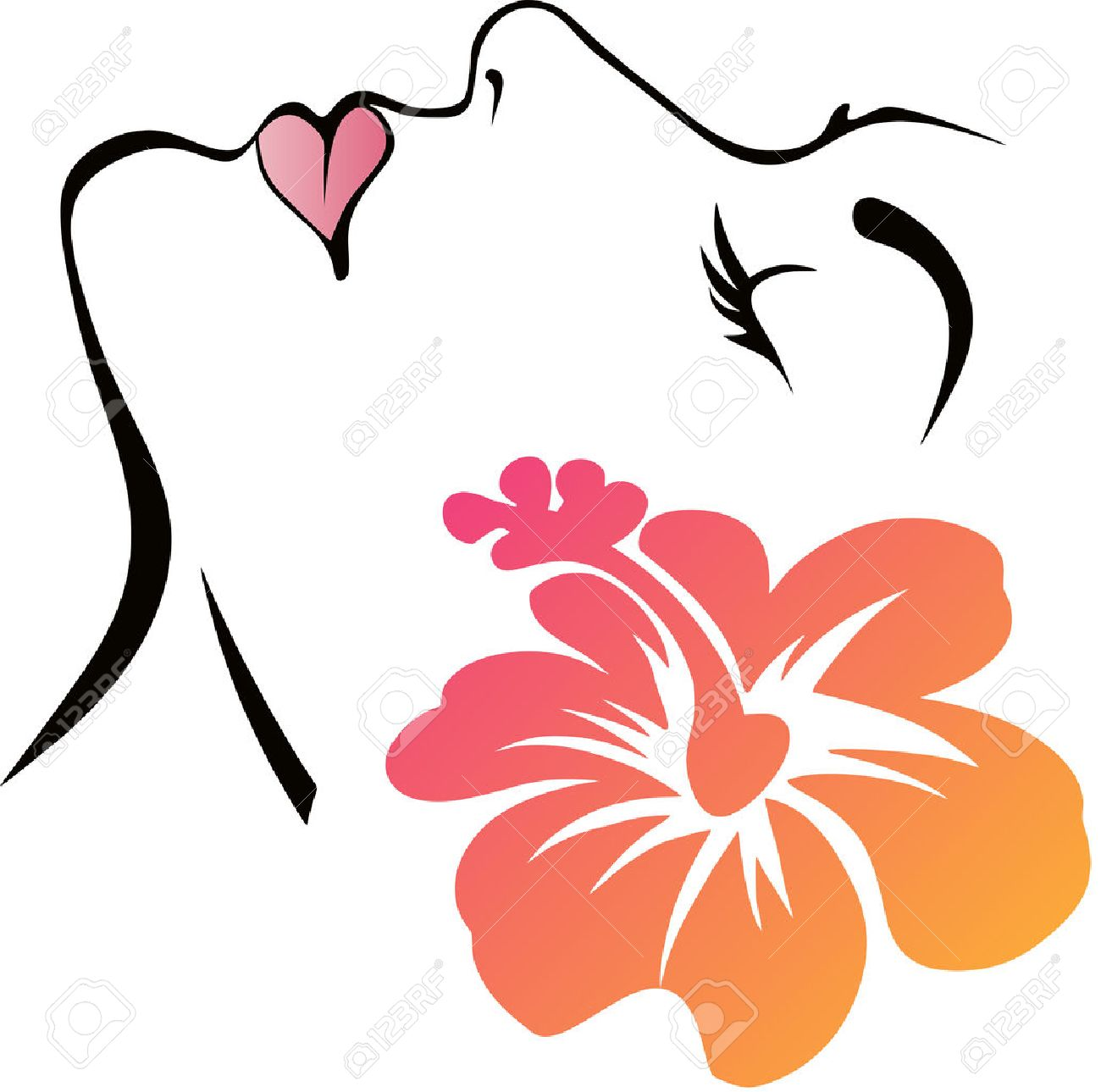 Woman Face with flower - 34407678
