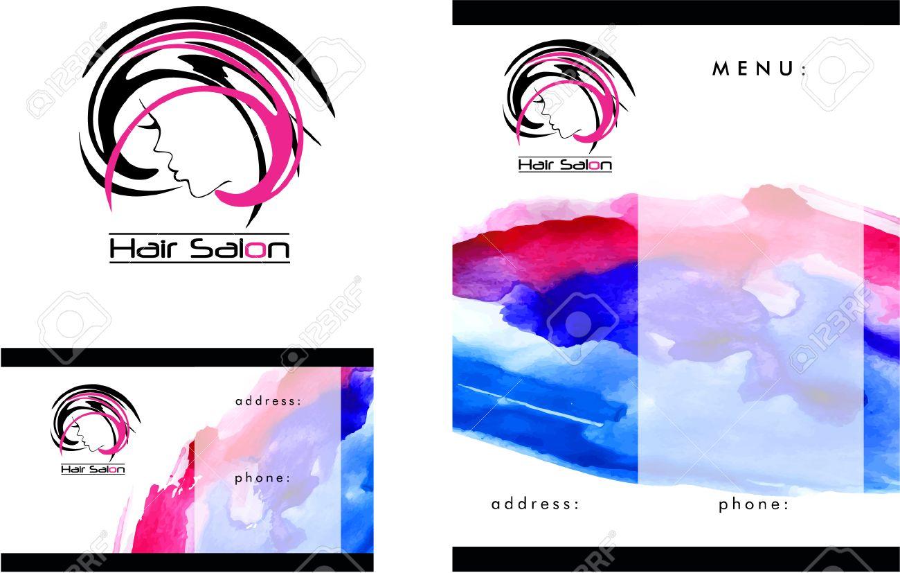 Beauty Salon Logo, Business Card Design Und Broschüre Lizenzfrei ...