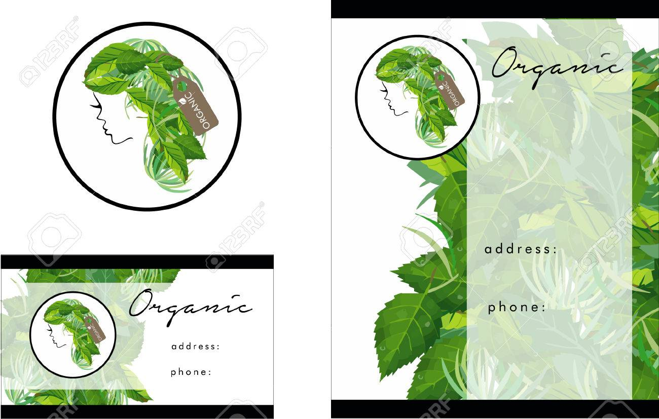 Beauty Organic Salon Logo, Business Card Design And Brochure Royalty ...