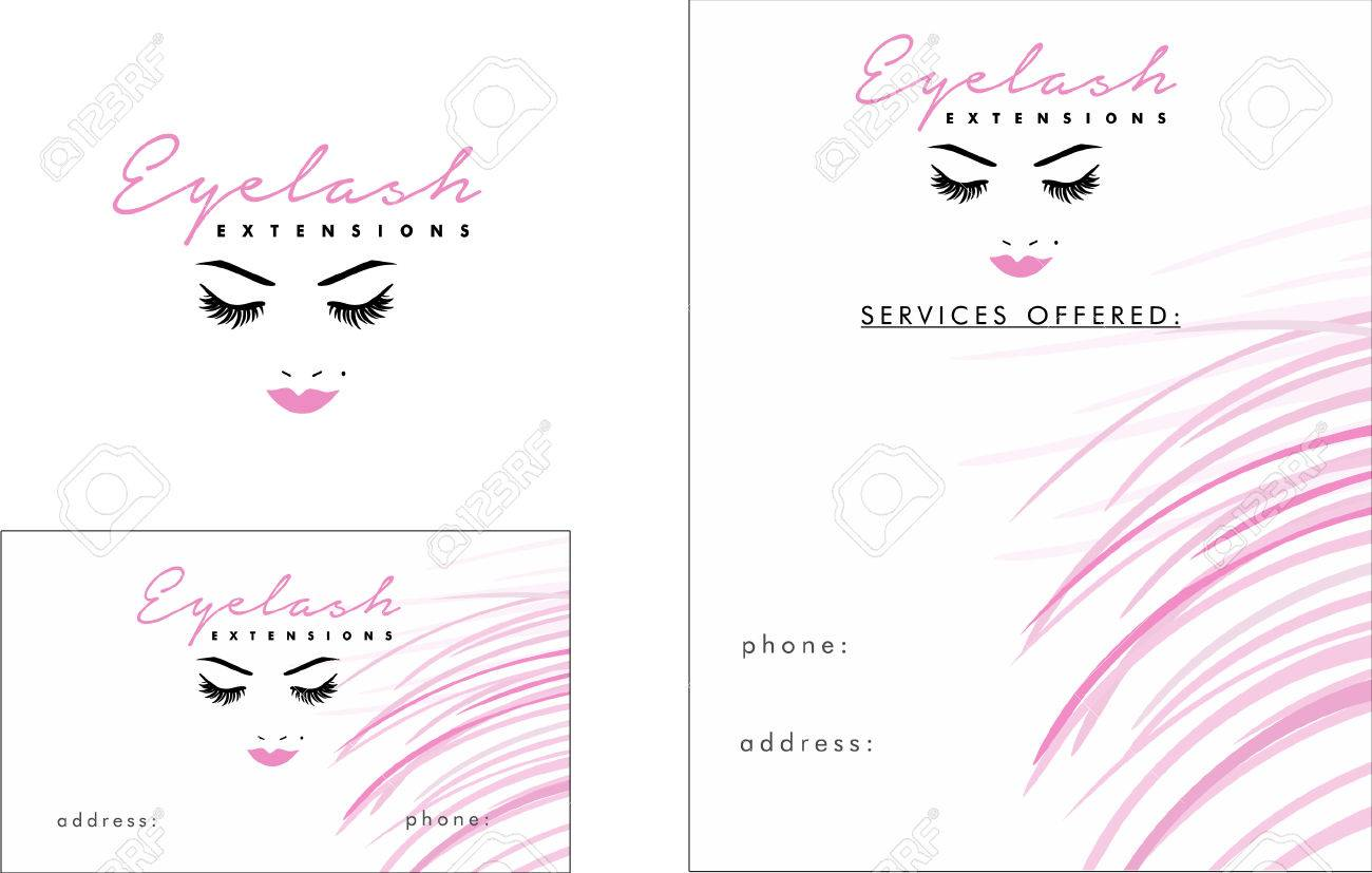 Salon De Beaute Cils Extentions Carte Visite Conception Et