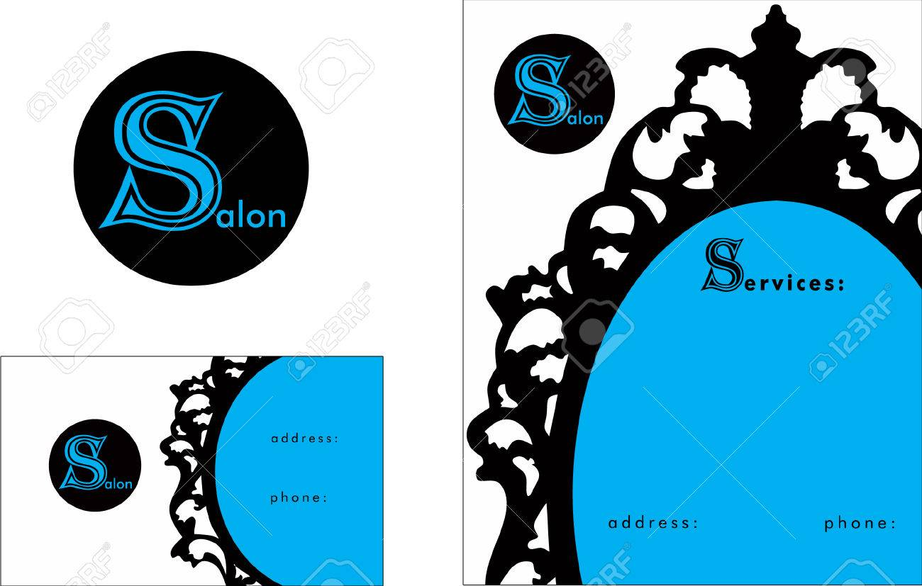 Beauty Salon Business Card Design And Brochure Royalty Free Cliparts ...