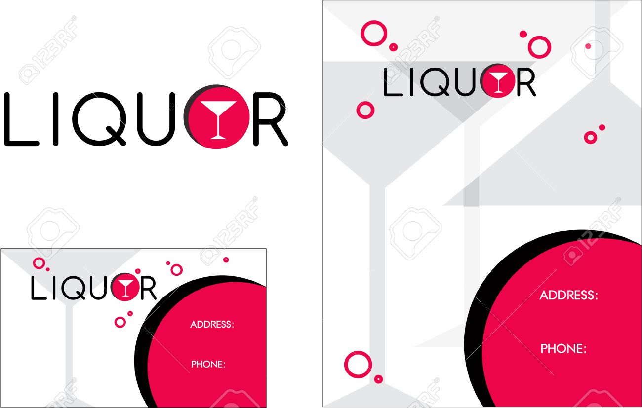 Liquor Store Flyer Wine Business Card Royalty Free Cliparts, Vectors ...