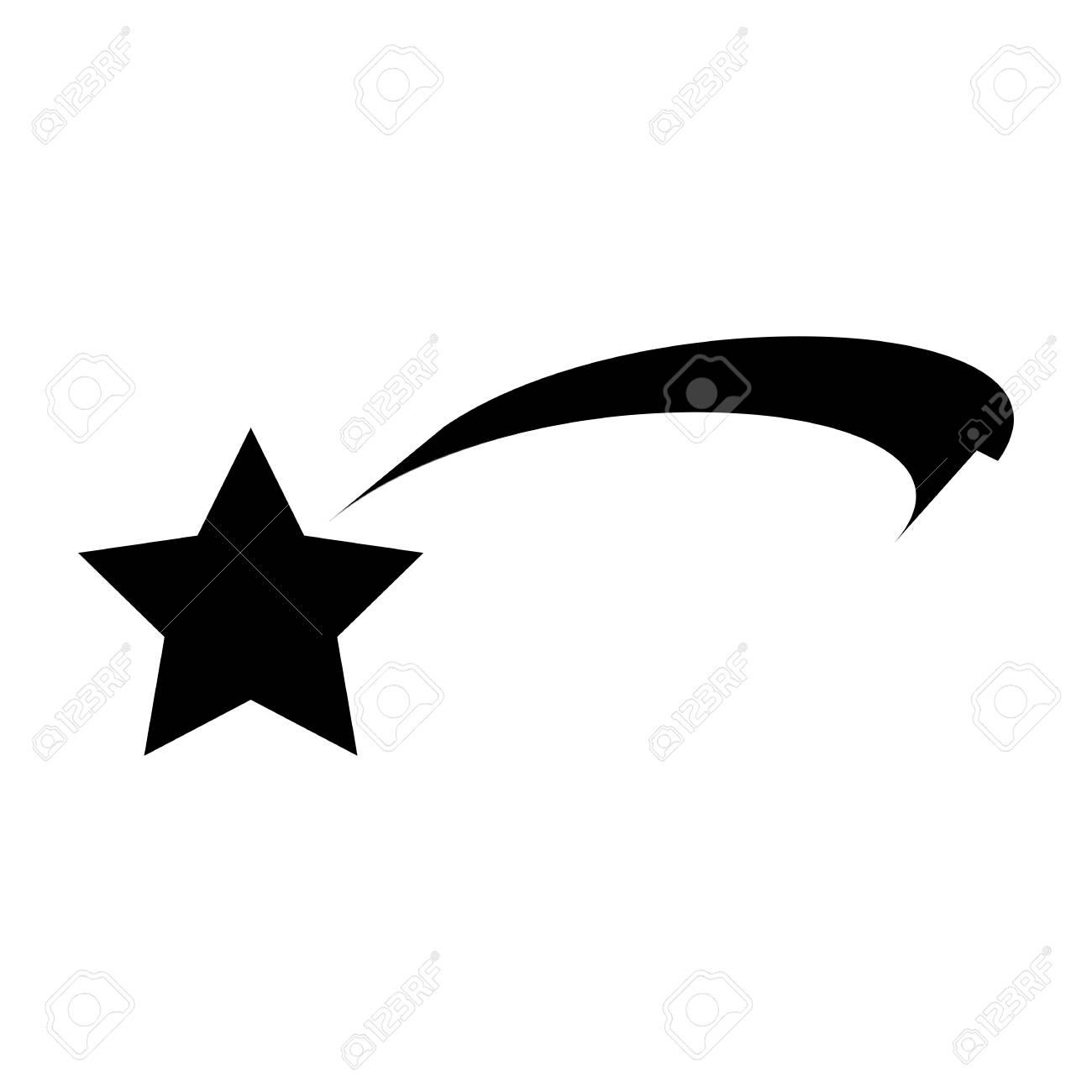 Christmas Ribbon Shooting Star Silhouette Icon Symbol Design