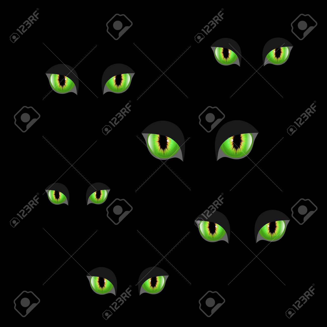 Spooky Eyes Halloween Background Vector Illustration Of Animal Royalty Free Cliparts Vectors And Stock Illustration Image 88595066