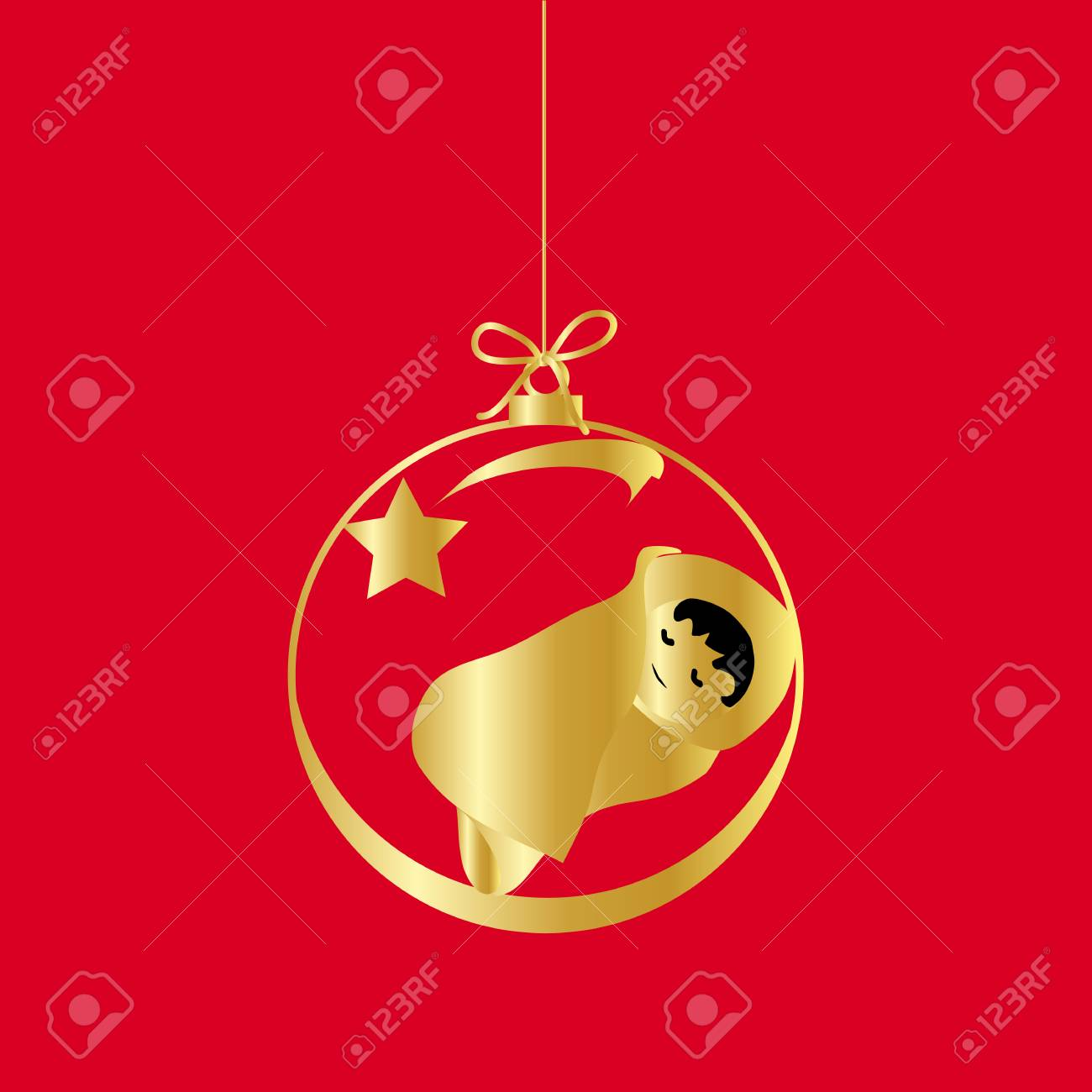 Flat Christmas Ball With Bow And Baby Jesus Christ. Vector Gold ...