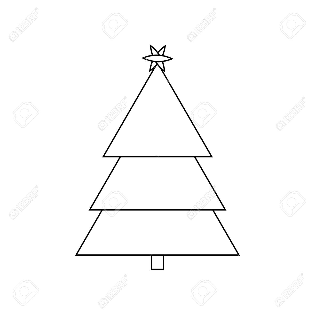 Christmas Tree Outline.Christmas Tree Outline Icon Symbol Design
