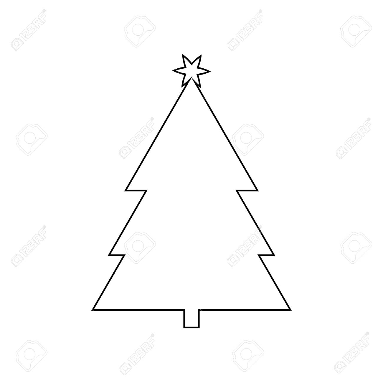 Christmas Tree Outline Icon Symbol Design Royalty Free Cliparts