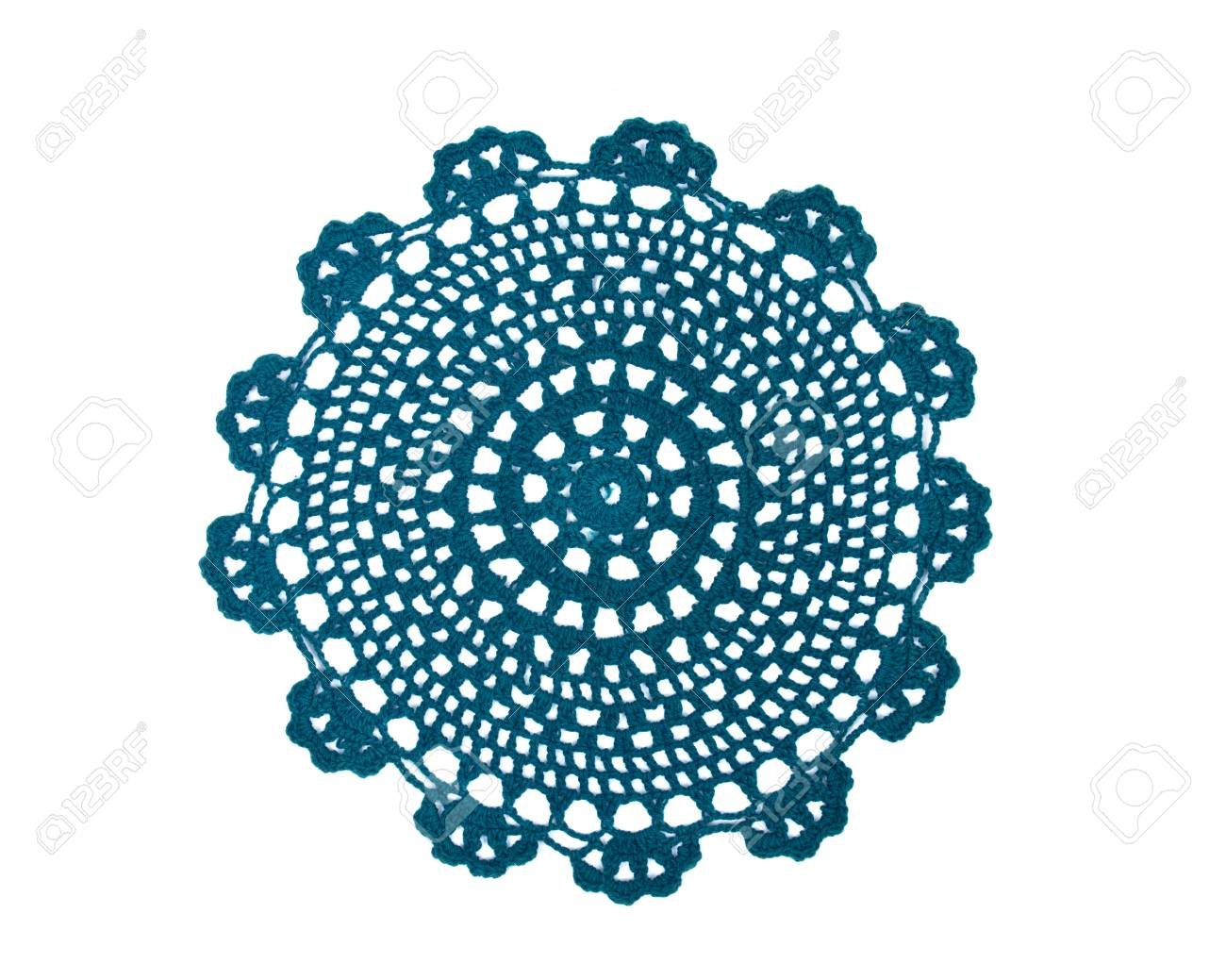 Green fabric lace doily separated on white background - 64012504
