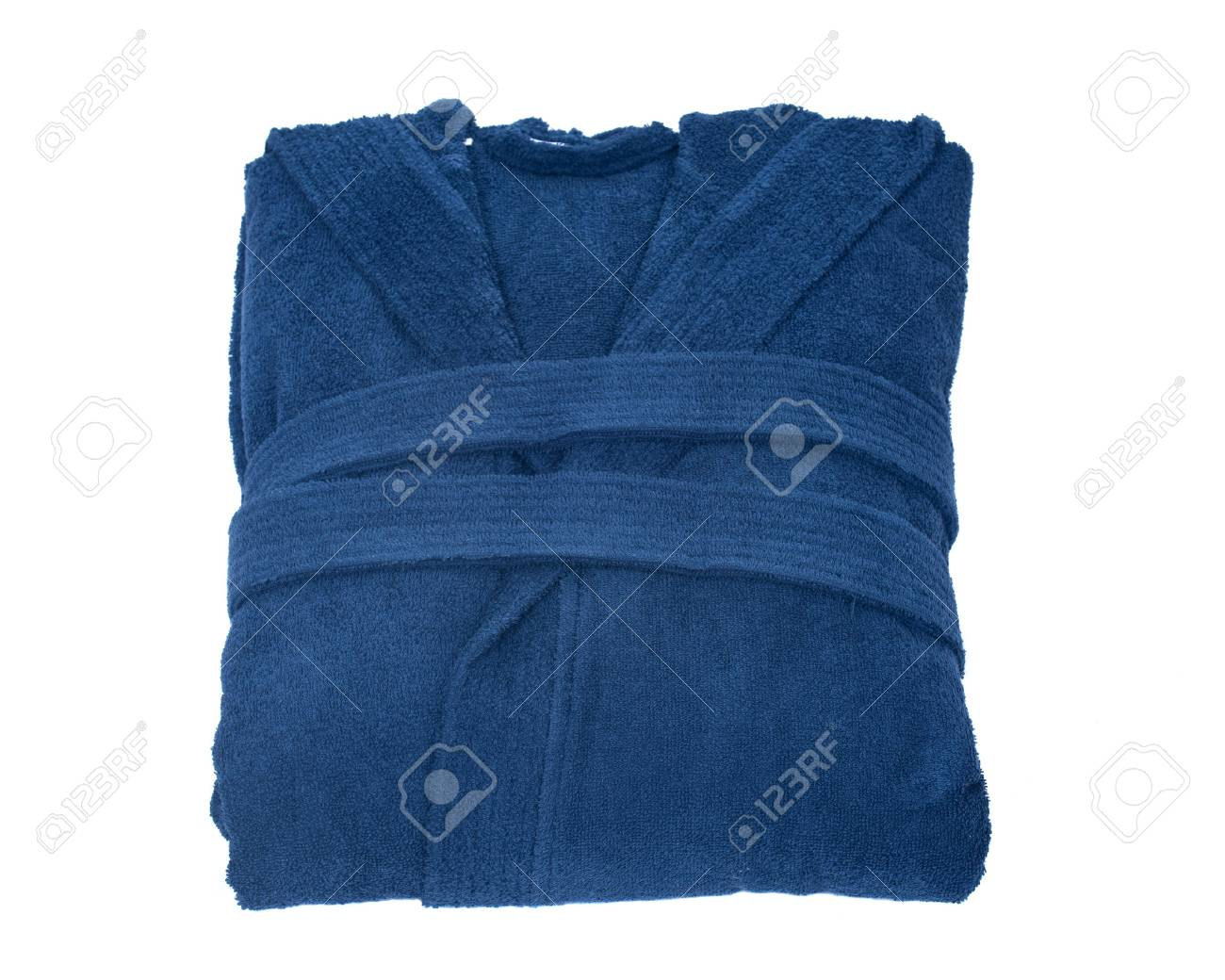 Blue cotton velour bathrobe isolated on white background - 65073120