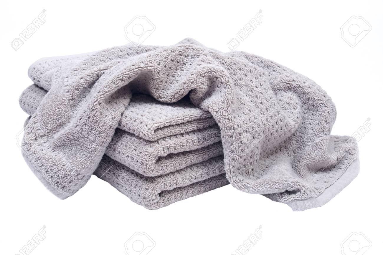 Pile, Stock Of Thick Organic Cotton Bath Towels Isolated On White  Background Stock Photo