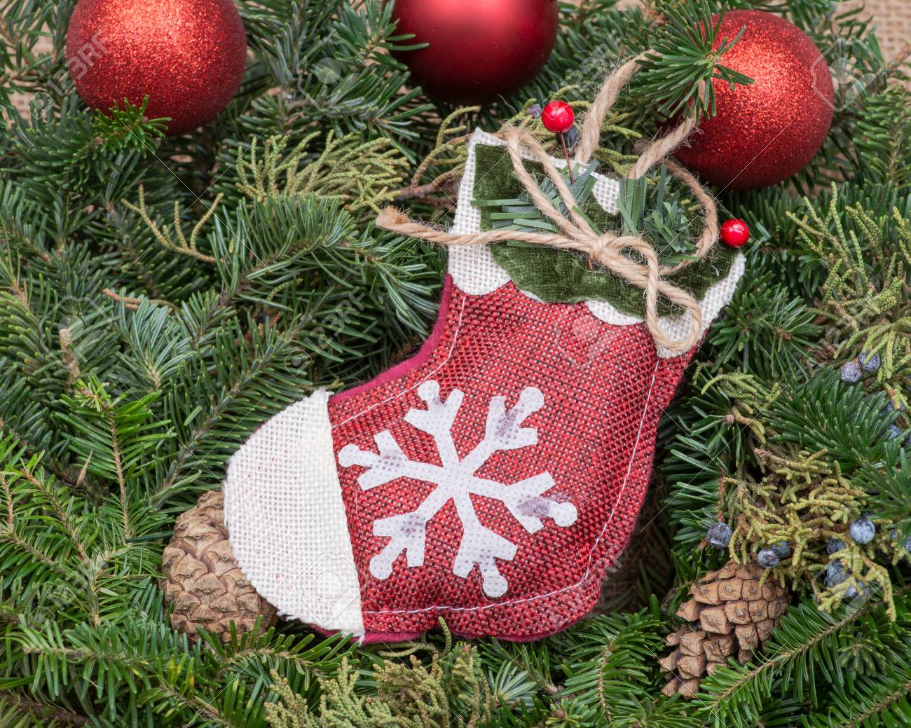 Winter Holiday Decoration Snowflake Crochet Christmas Stocking
