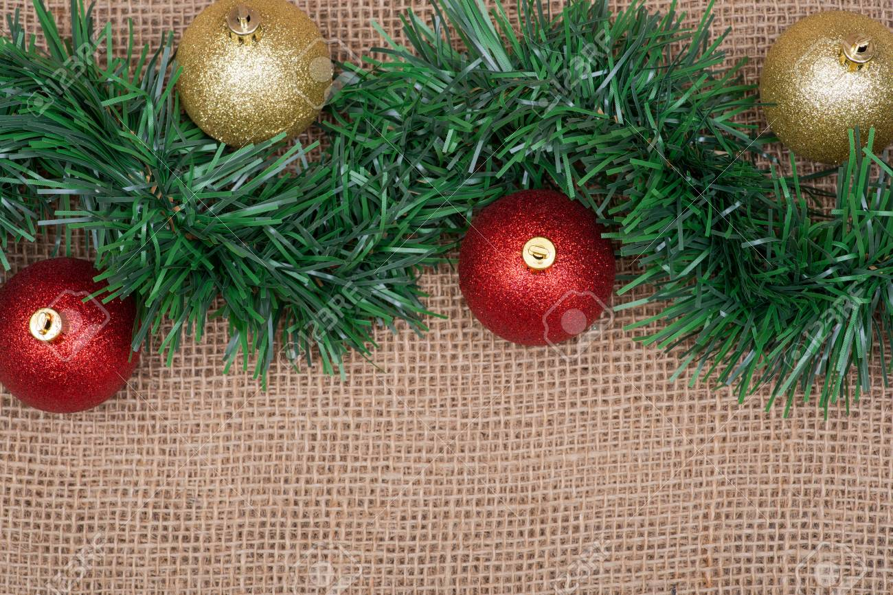 Winter Holiday Decoration Green Garland And Christmas Tree Balls Stock Photo Picture And Royalty Free Image Image 112486935