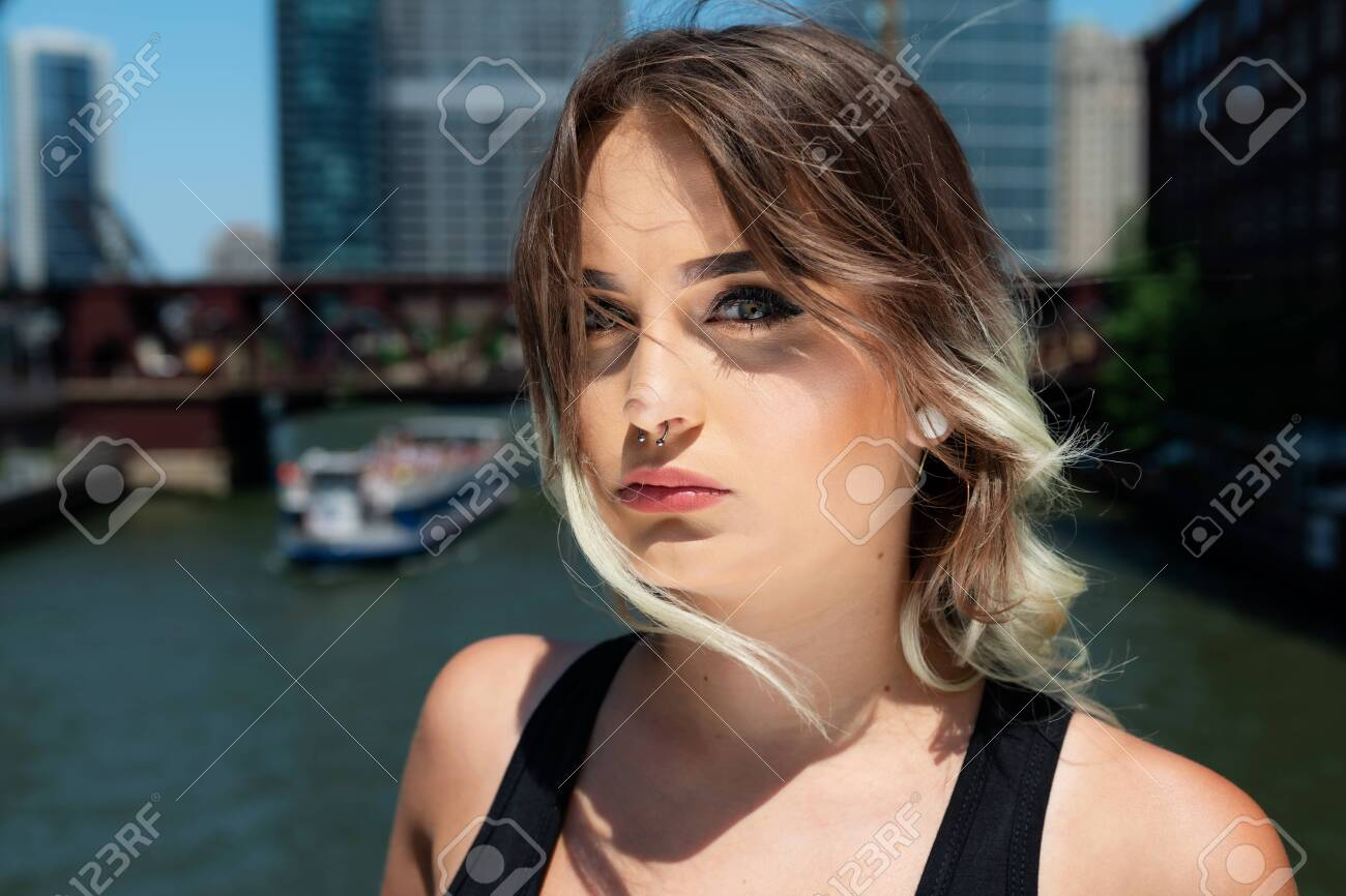 Beautiful Young Caucasian Girl With Barbell Septum Nose Ring