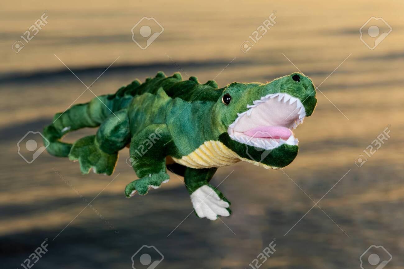 Green soft stuffed toy Crocodile at the sunrise in front of the lake. - 128873625