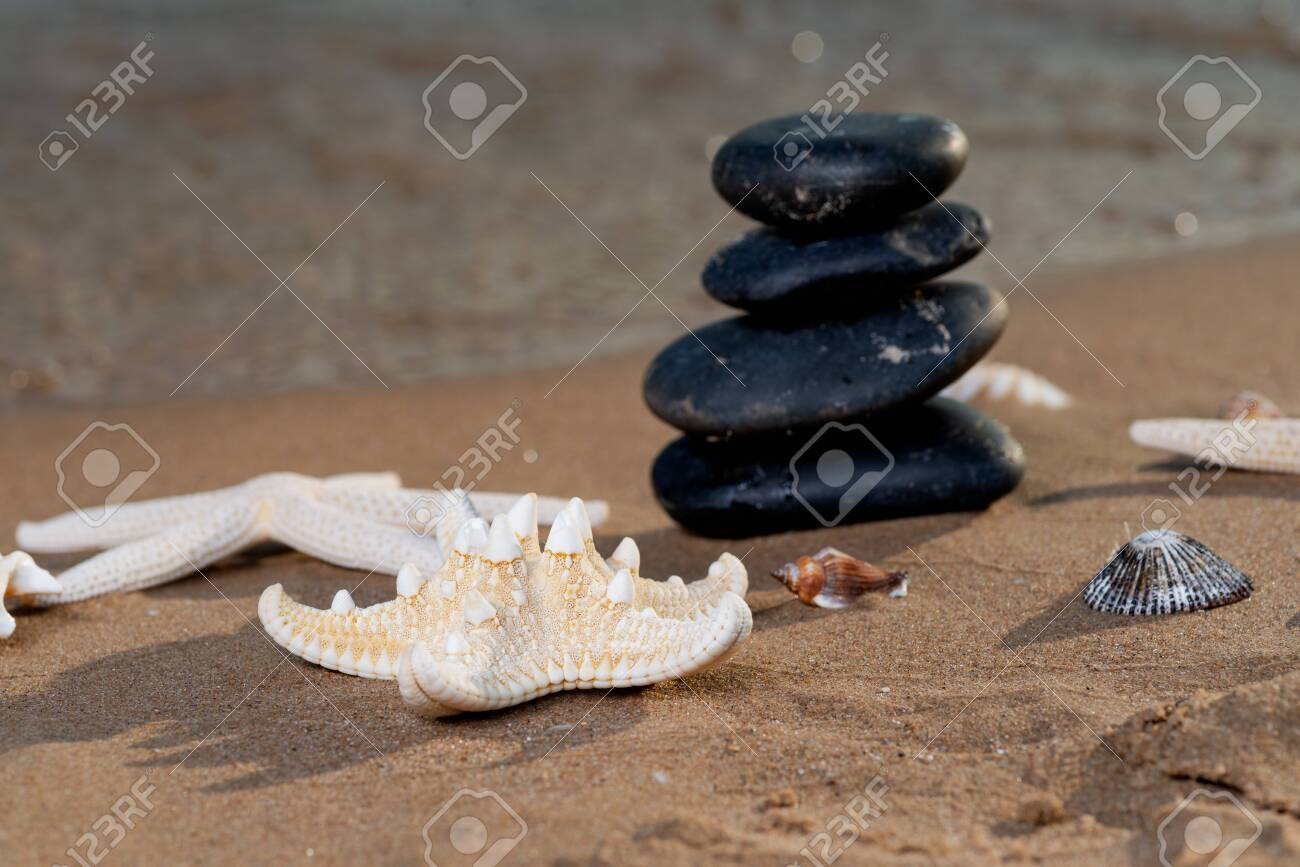 Spa composition - stacked Basalt Stones, Seashells and Sea Stars on the beach at sunrise in front of the ocean. Wellness, Balance and Relax concept. - 128873576