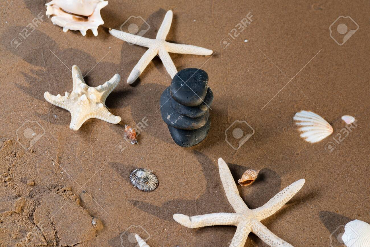 Spa composition - stacked Basalt Stones, Seashells and Sea Stars on the beach at sunrise in front of the ocean. Wellness, Balance and Relax concept. - 128873517