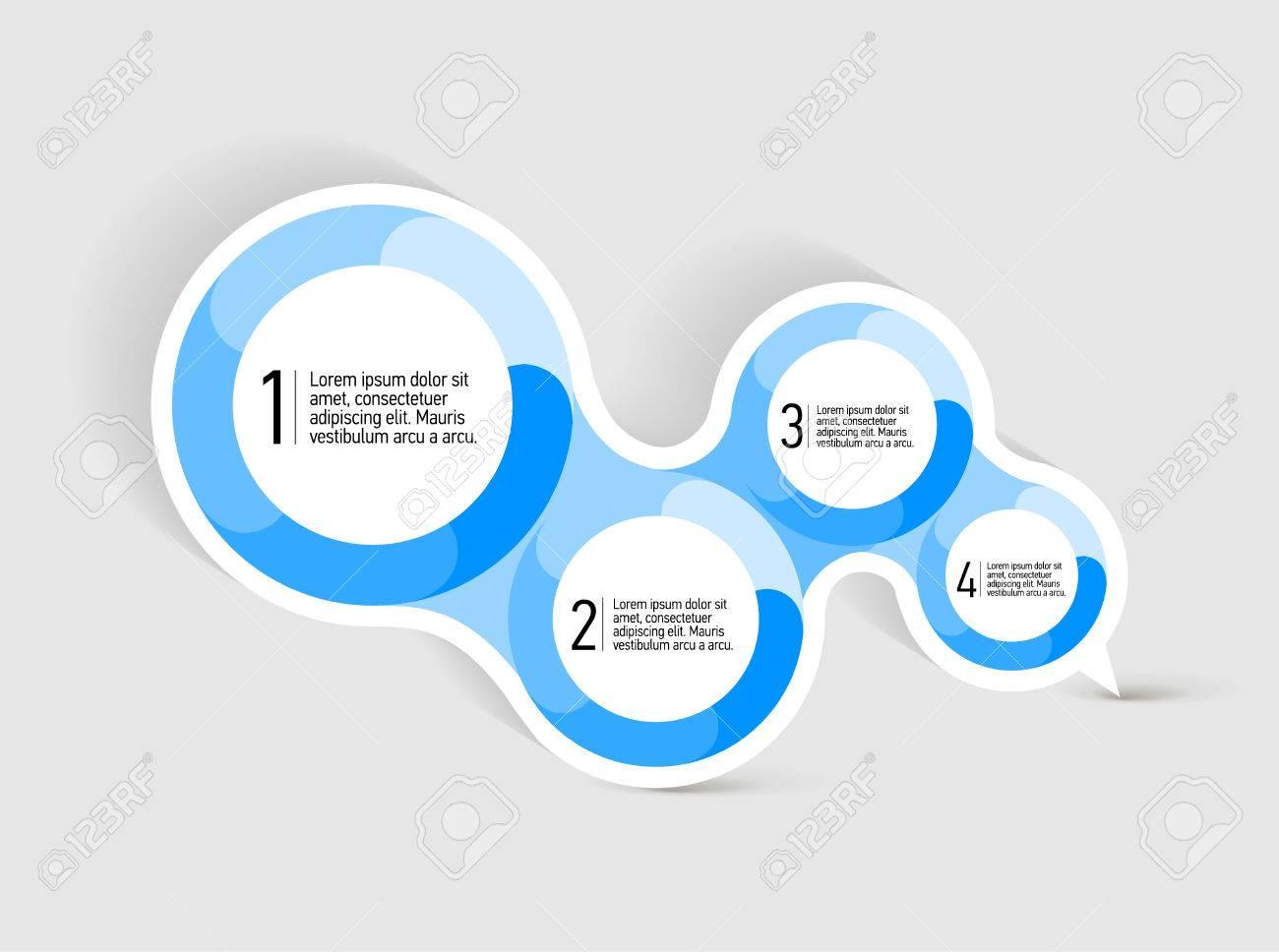 Burbuja Discurso Atractivo Con Cuatro Formas Azules Redondas Para La ...