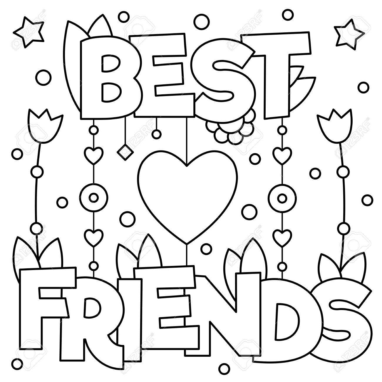 Mejores Amigos Para Colorear, Ilustración Vectorial. Ilustraciones
