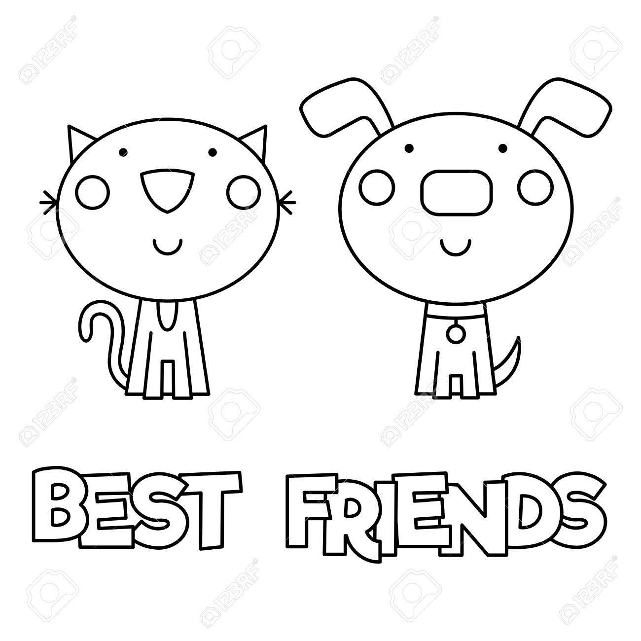 Mejores Amigos, Colorear Página, Ilustración Vectorial ...