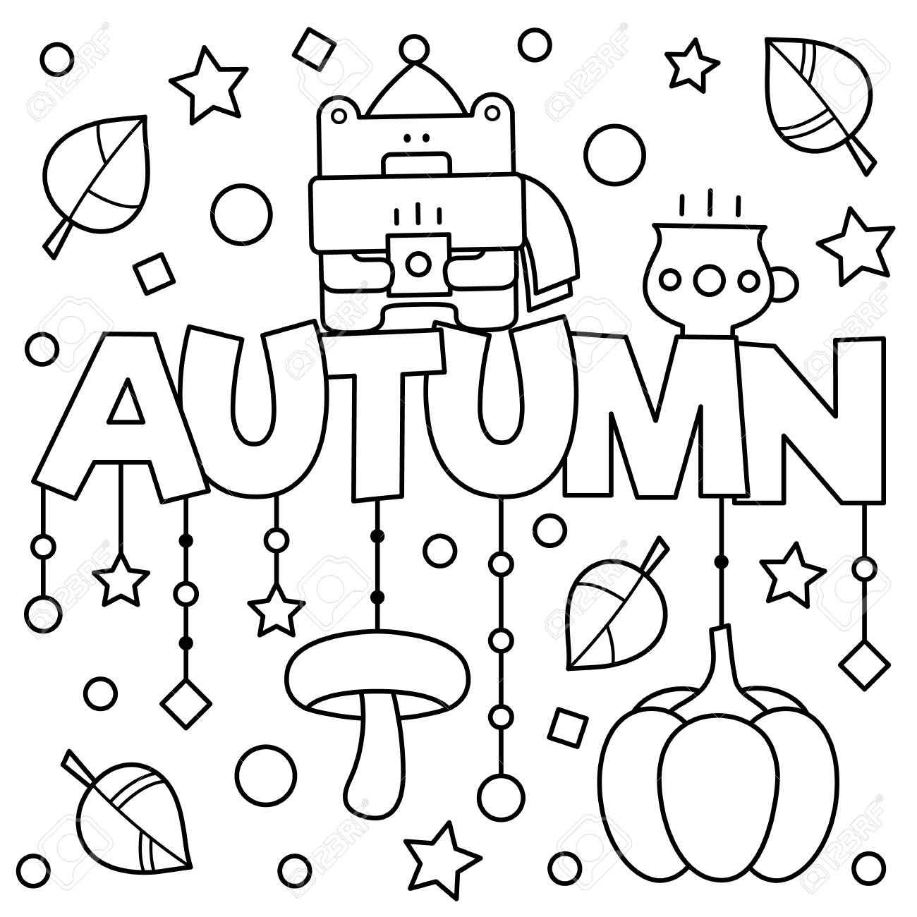 Black And White Vector Illustration. Coloring Page. Autumn. Royalty ...