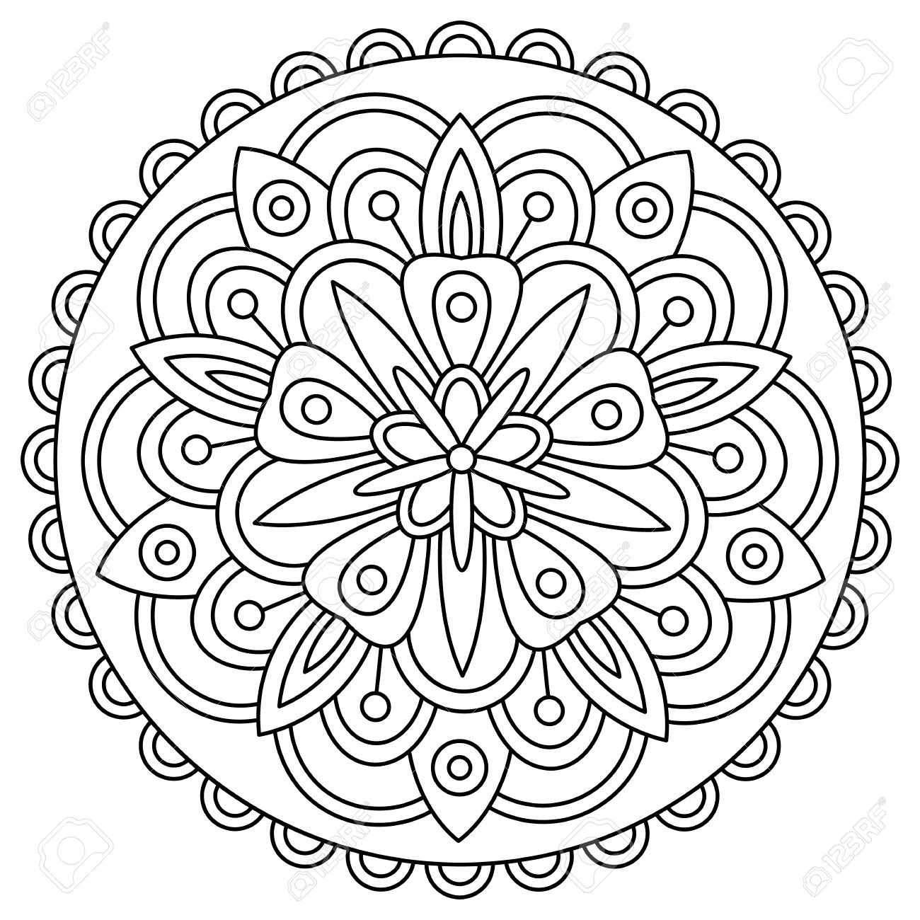 Mandala Coloring Page Vector Illustration Stock