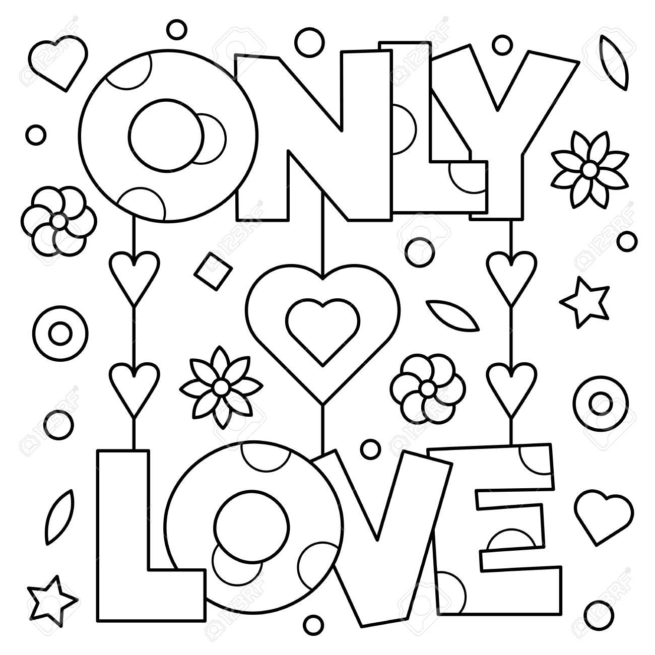 Unico Amor. Dibujo Para Colorear. Ilustración Del Vector