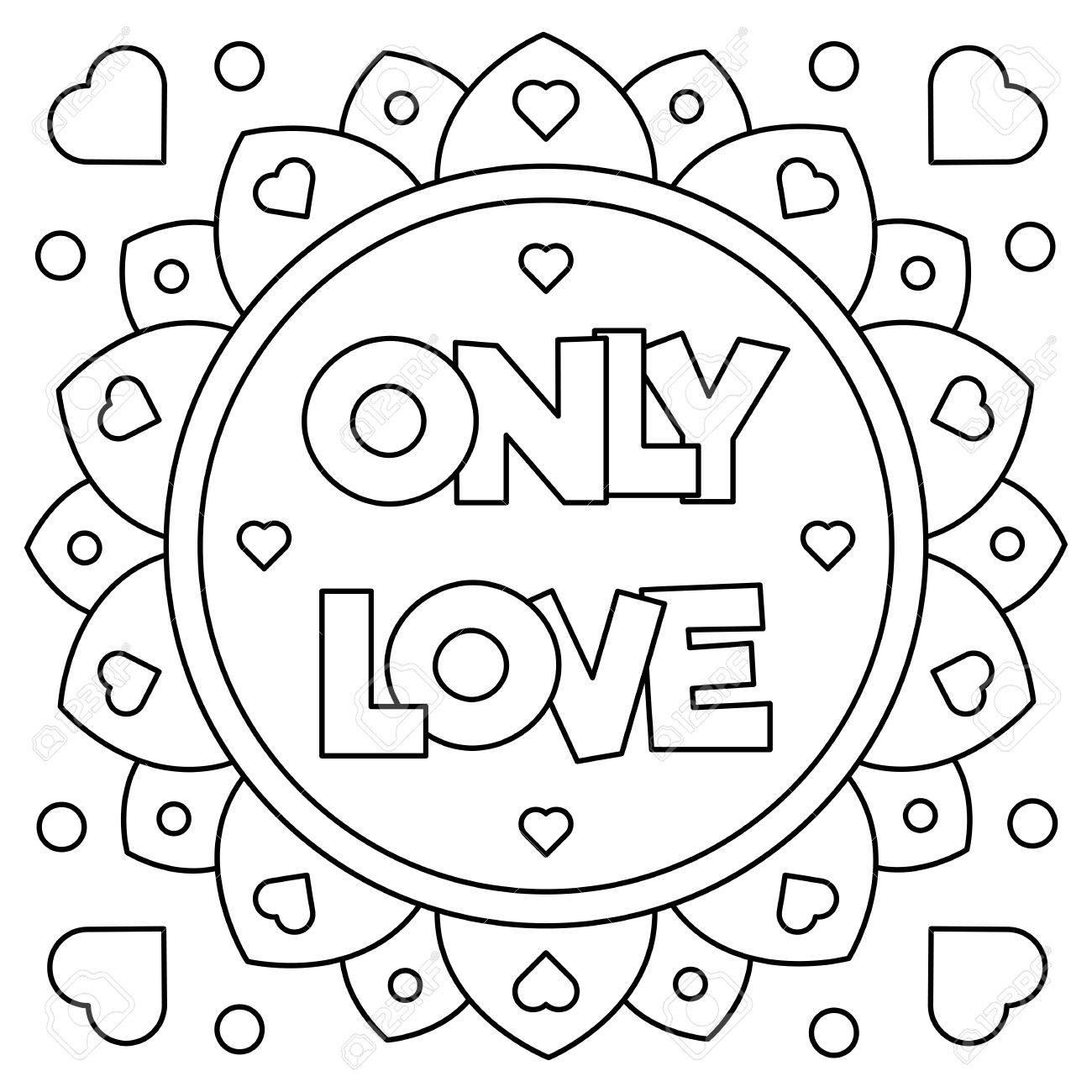 Unico Amor. Dibujo Para Colorear. Ilustración Del Vector ...