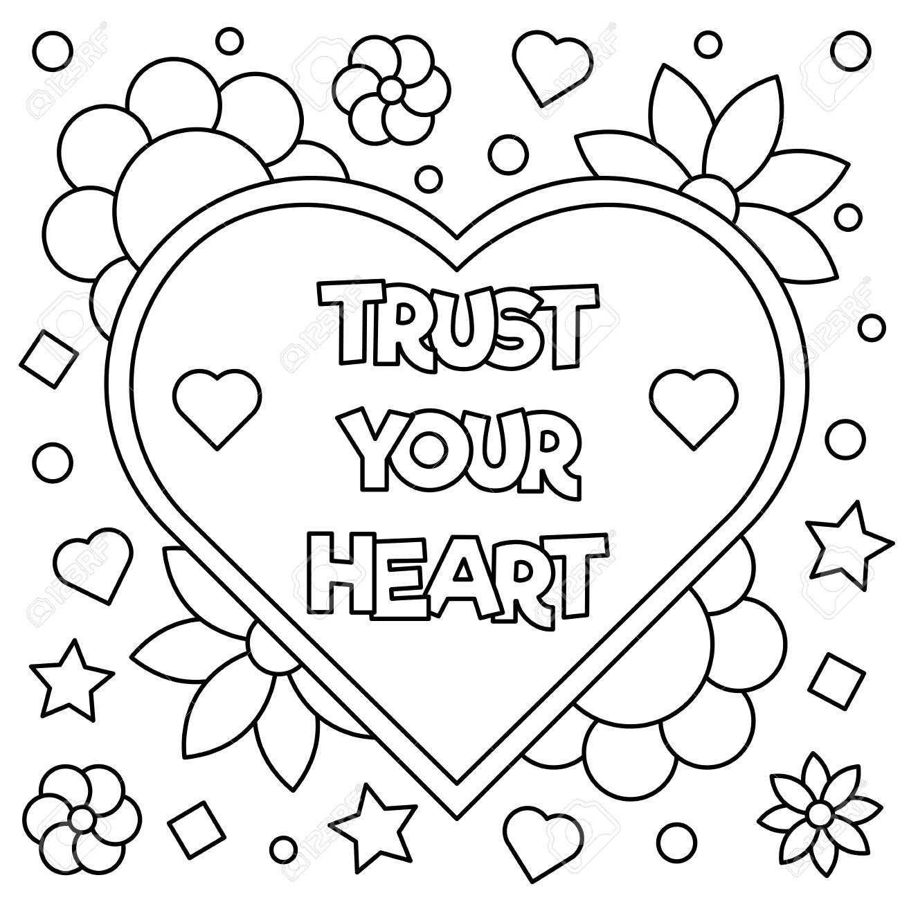 Confía En Tu Corazón. Dibujo Para Colorear. Ilustración Del Vector ...