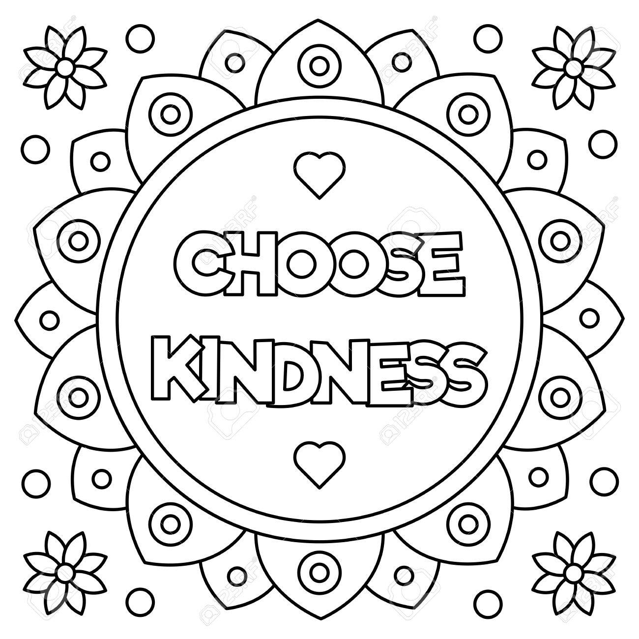 Choose kindness. Coloring page. Vector illustration. - 83875548
