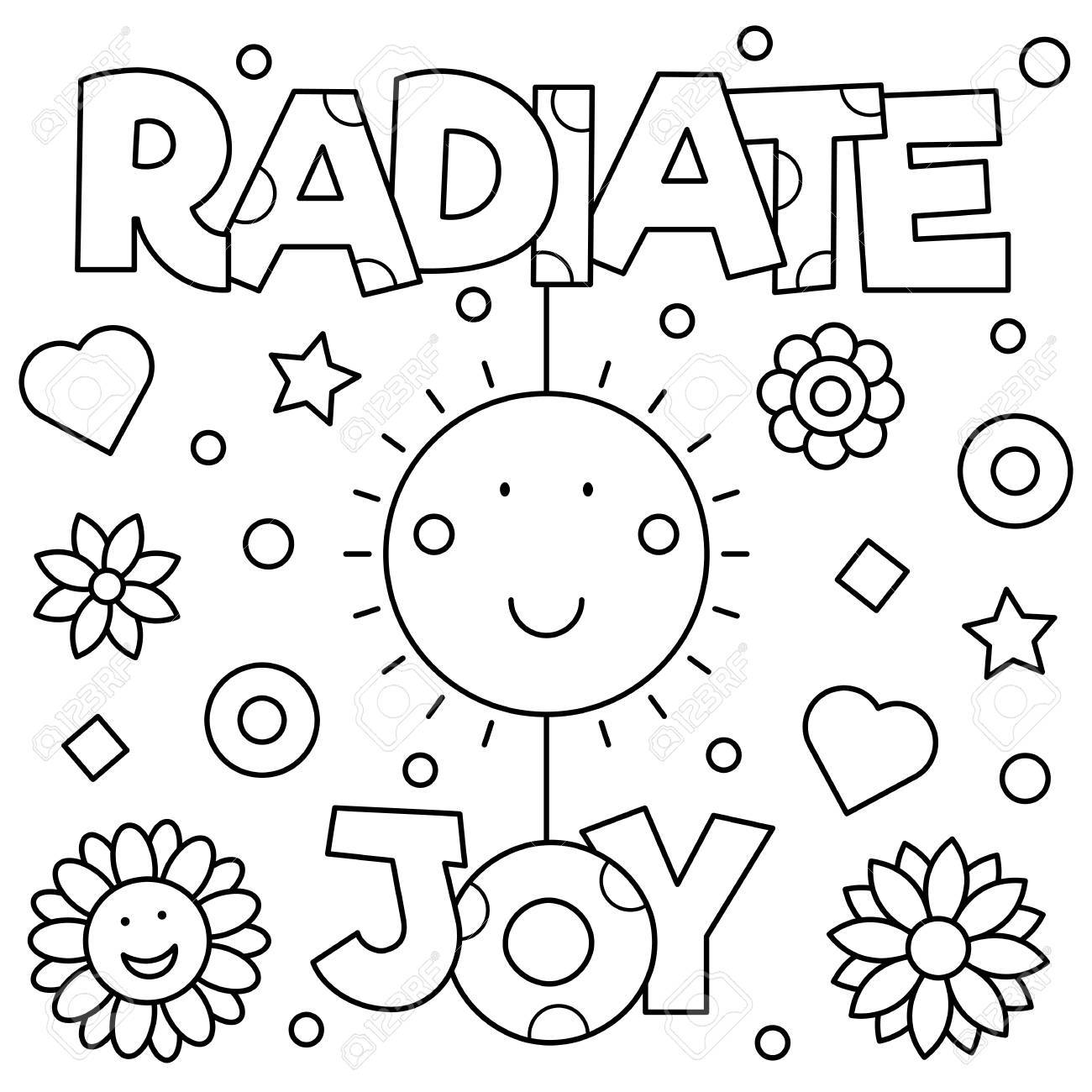 Radiate Joy Coloring Page. Vector Illustration. Royalty Free ...