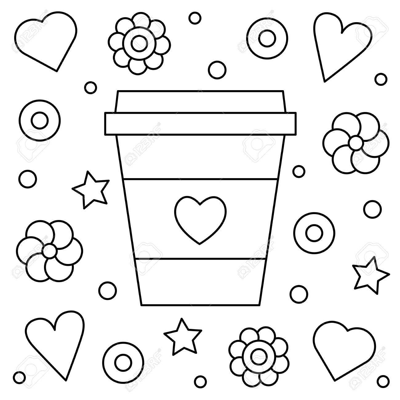 Café Página Para Colorear Ilustración Vectorial