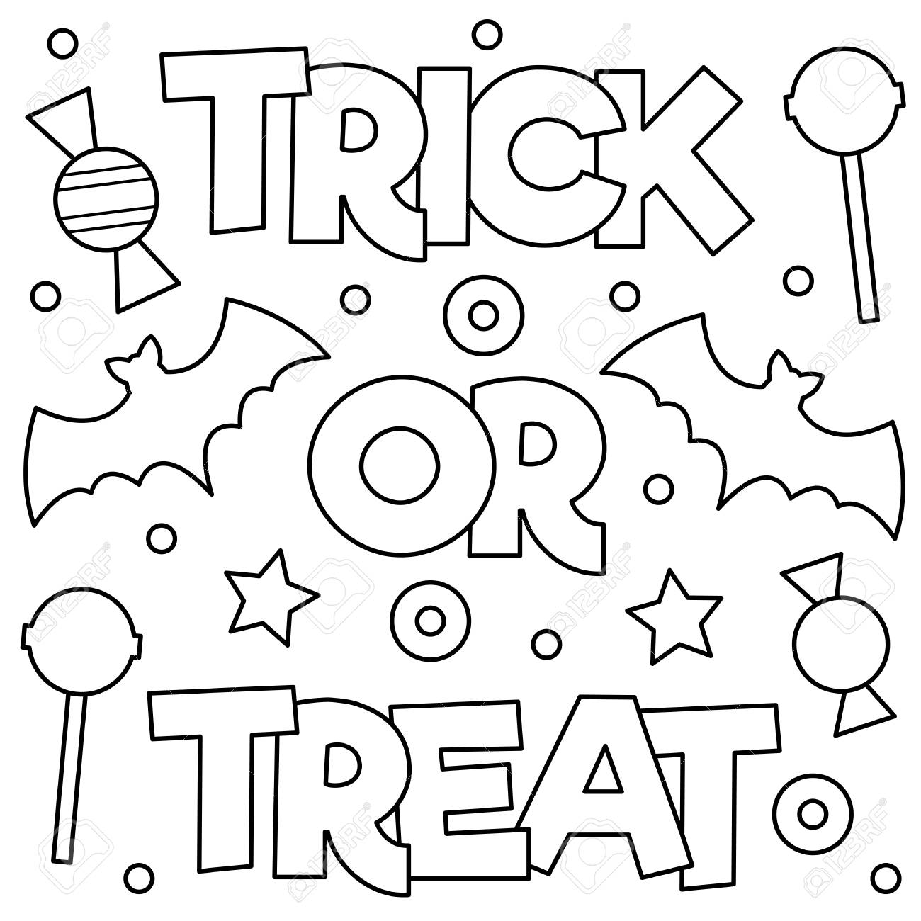 Trick or treat. Coloring page. Vector illustration. - 86906647