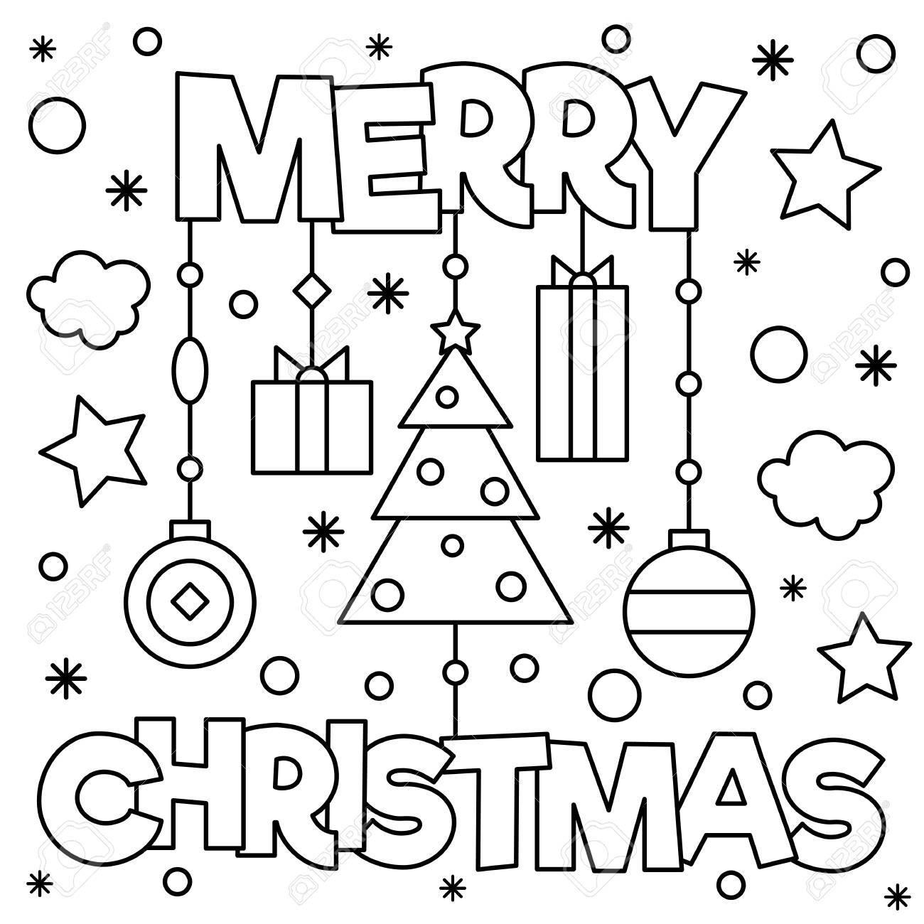 Feliz Navidad Pagina Para Colorear Ilustracion Vectorial