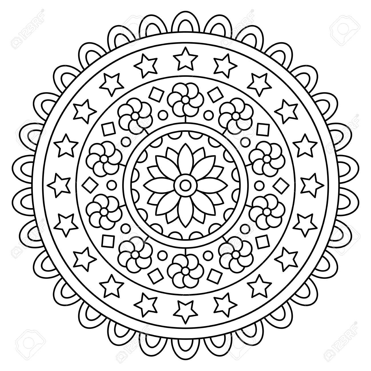 Mandala Dibujo Para Colorear Ilustracion Del Vector Fotos