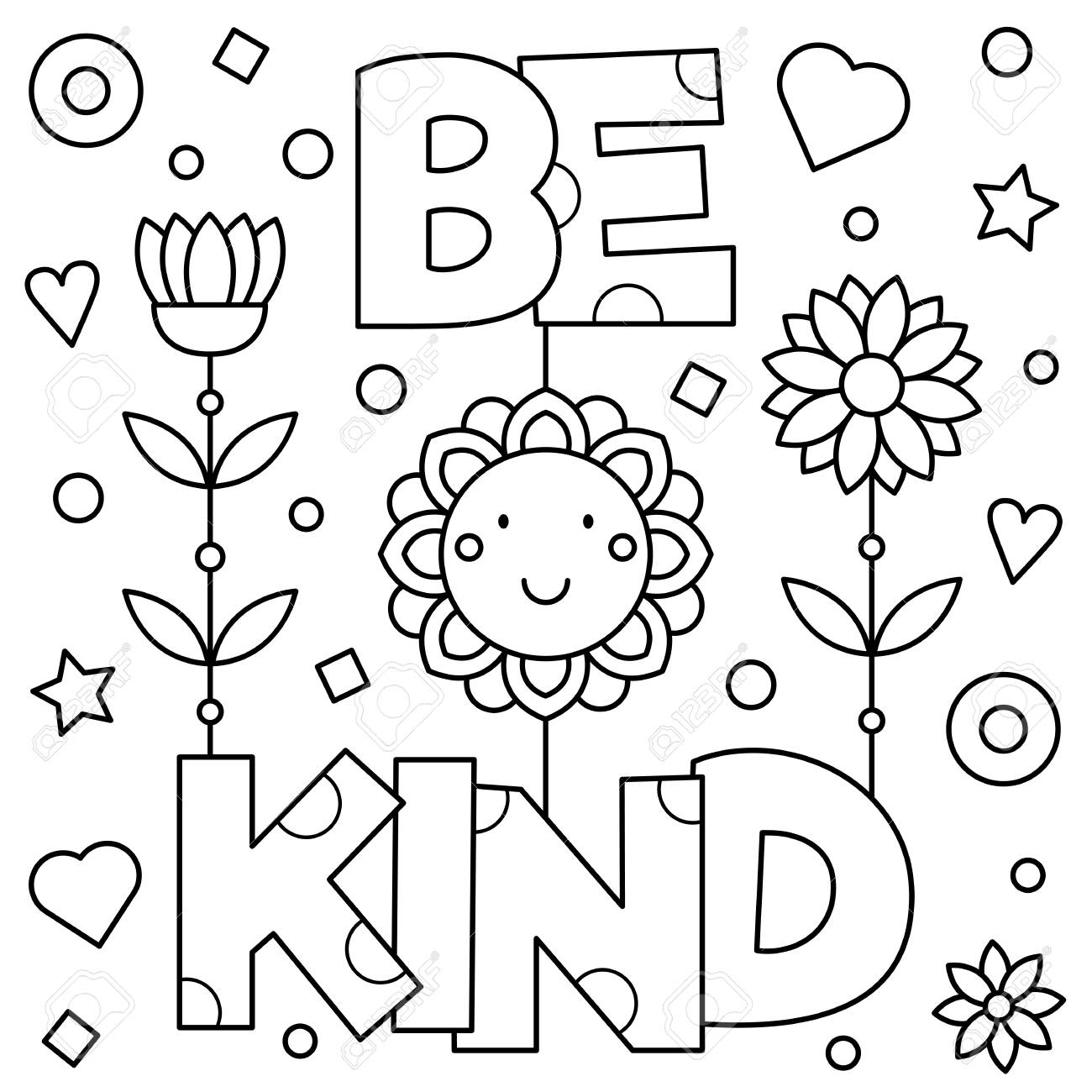 be kind coloring pages Be Kind. Coloring Page. Vector Illustration. Royalty Free Cliparts  be kind coloring pages