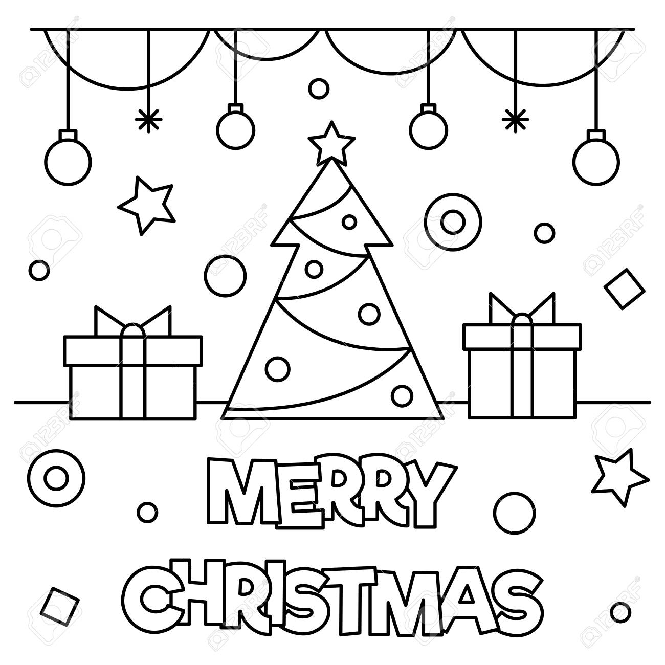 merry christmas coloring page vector illustration stock vector 89276627