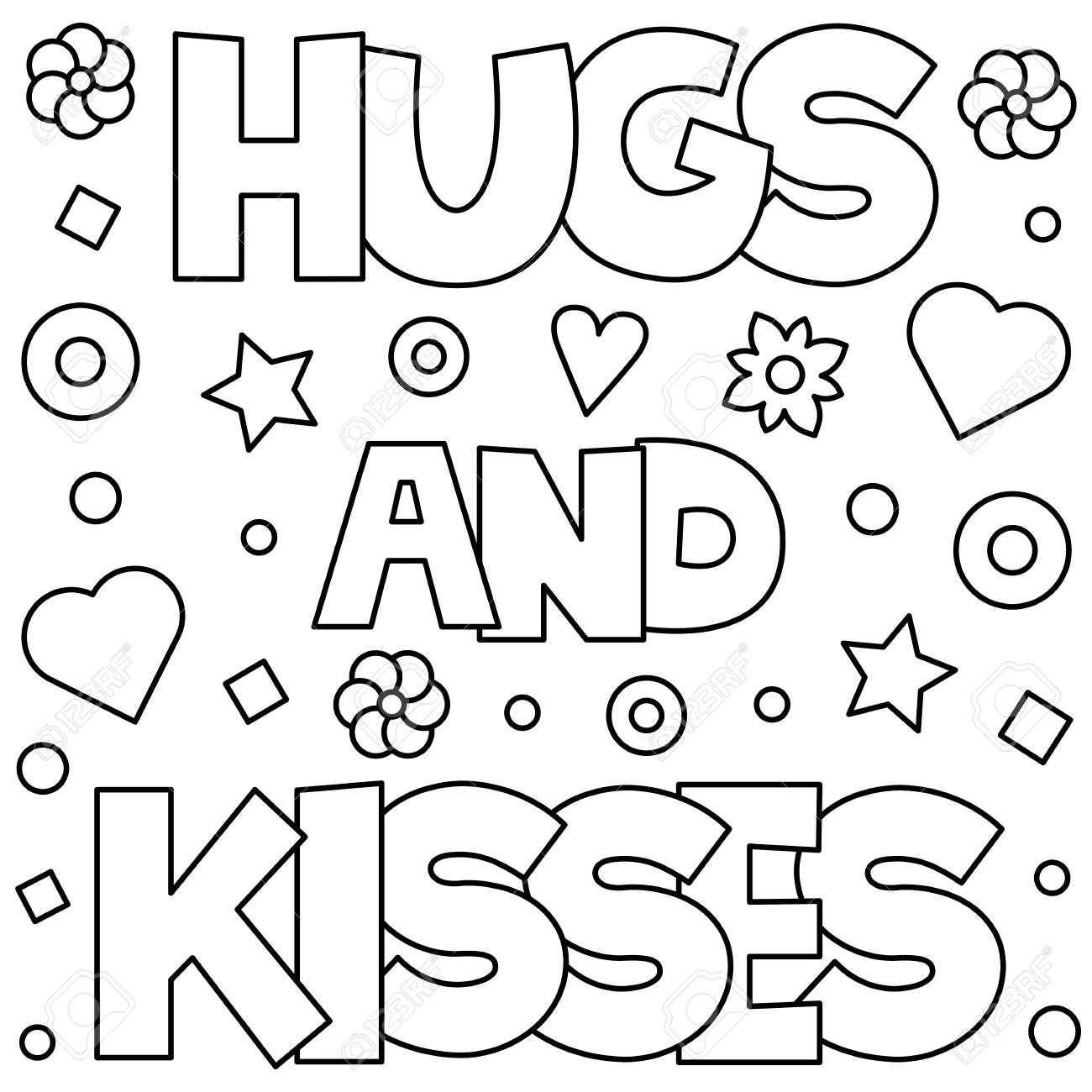 Hugs And Kisses Coloring Page Vector Illustration