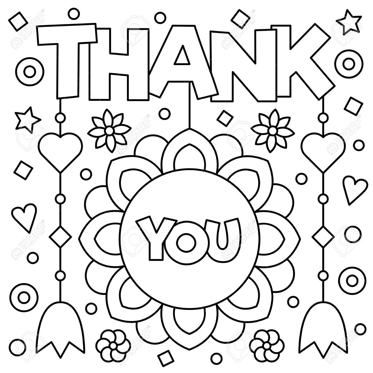 Thank You. Coloring Page. Black And White Vector Illustration. Stock ...