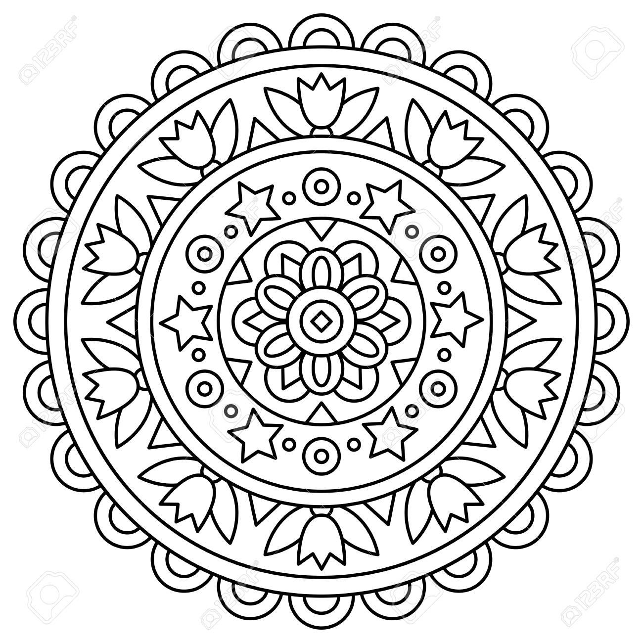 Mandala Dibujo Para Colorear Ilustracion Del Vector
